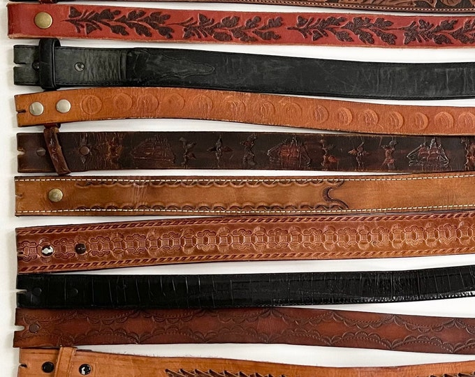 Western Leather Belt Strap Vintage Snap On Detachable Tooled Leather Stamped Leather Distressed Mens Women's Strap for Buckle