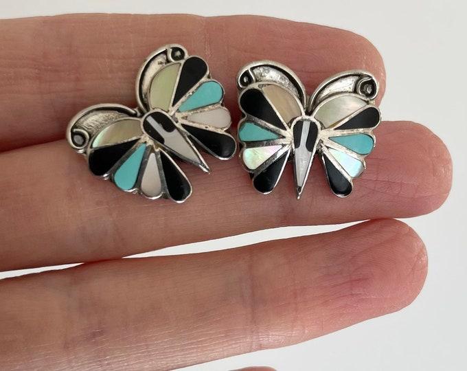 Delicate Zuni Butterfly Inlay Earrings Vintage Native American Intricate Sterling Silver Multi Stone Turquoise MOP Onyx Butterfly Wing Fan