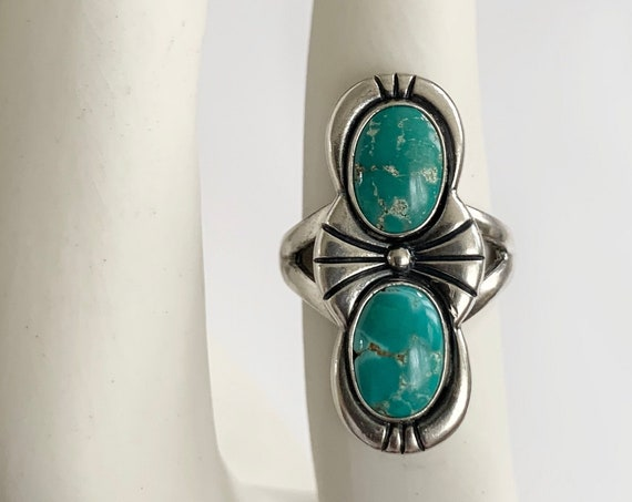 Navajo Double Turquoise Ring Two Stones Multi Stone Vintage 60s Native American Etched Sterling Silver Elongated Statement Ring Size 7.25