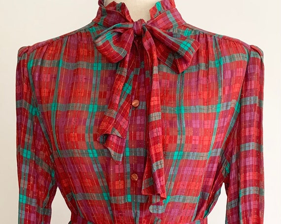 Made in France Plaid Dress Vintage Dejue for Jacobson's Department Store Festive Red Magenta Green Metallic Gold Semi Sheer XS S