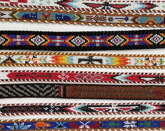 Vintage Southwest Beaded Belt Vintage Trading Post Style Colorful Seed Bead Beadwork Eagle Thunderbird Animal Mens Womens Boy Girl Child