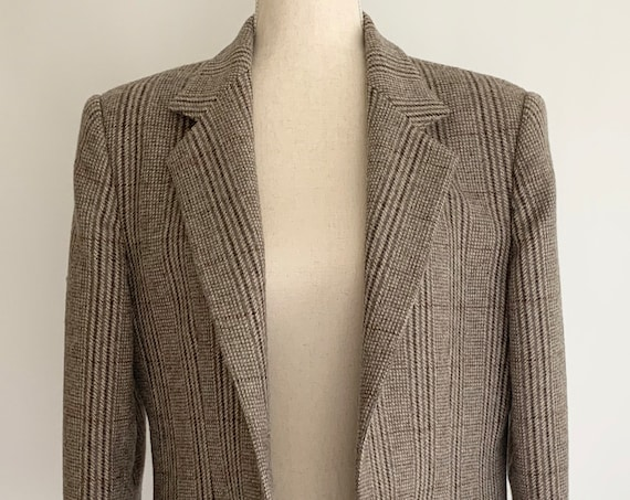 Plaid Oversized Blazer Jacket Vintage 70s Boyfriend Menswear Fit Neutral Beige Brown Check Houndstooth Size S