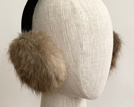 Canadian Beaver Fur Earmuffs Ear Muffs with Original Tags Black Velvet Headband Brown Natural Fur Made in Canada
