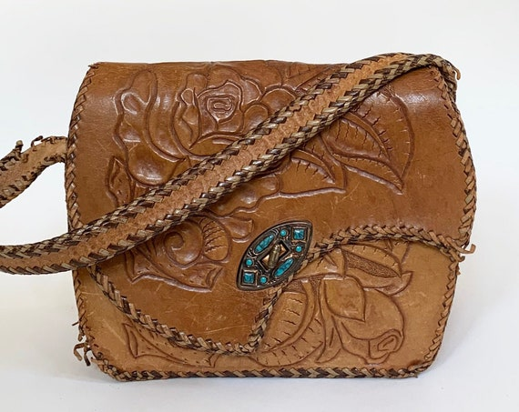 Floral Tooled Leather Purse Vintage 70s Faux Turquoise Clasp Distressed Tan Brown Leather Goods Shoulder Bag Handbag