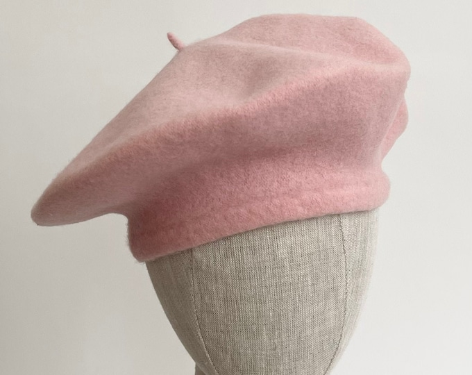 English Pink Wool Beret Hat Made in England Vintage Womens Hats All Wool Felted Wool