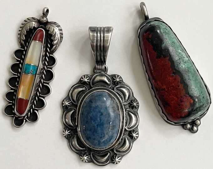 XL Large Navajo Pendant Vintage Native American Pendants for Necklaces Sterling Silver Turquoise MOP Sodalite