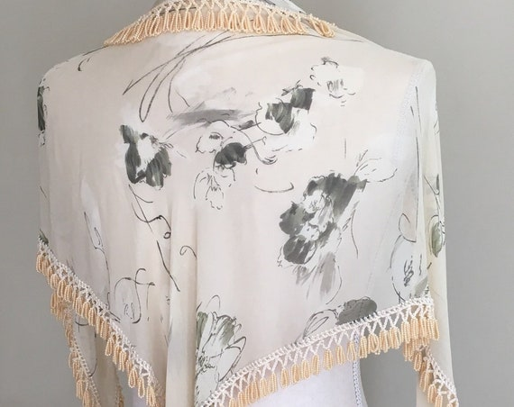 Beaded Floral Shawl Wrap Bridal Wedding Vintage Ivory White Sheer Chiffon Folk Hippie Boho Bohemian Wedding