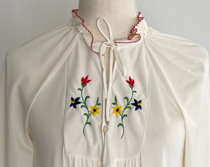 Folk Embroidered Nylon Nightgown Ruffle Neckline Trim Vintage 70s Nightwear Floral Flower Embroidery Long Sleeve Ankle Length House Dress XS