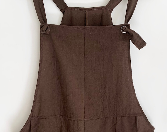 Chocolate Brown Jumpsuit Overalls Romper Culottes Play Suit Vintage Solid Cotton Blend Fabric Easy Fit Size S M