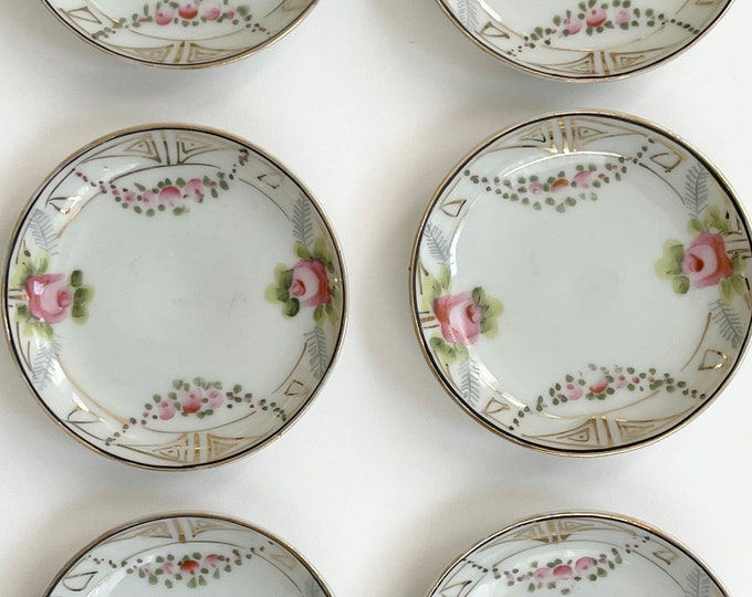 "Small Floral Porcelain Plate Trinket Dish Butter Dish Ring Dish Set Lot of 6 Dishes Made in Japan Appear Hand Painted 3.25"" Diameter"