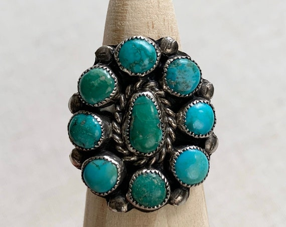 40s Turquoise Cluster Ring Vintage Old Antique Native American Sterling Silver Floral Flower Radial Size 6.5