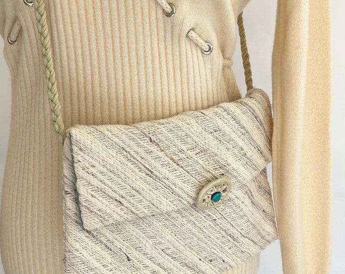 Winter White Woven Crossbody Bag Purse Handmade Vintage Icy Blue Corduroy Lined Braided Strap Turquoise Detail