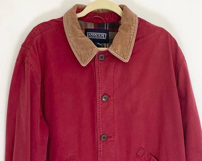 Land's End Field Jacket Mens Work Chore Lumberjack Utility Barn Coat Faded Brick Red Cotton Canvas Corduroy Collar Plaid Lining M L