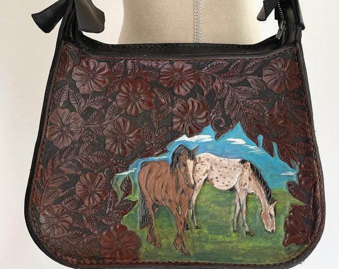 Tooled Leather Bag Purse Hand Painted Hand Tooled Horse Detail Vintage Leather Goods Shoulder Bag Dark Espresso Brown Leather