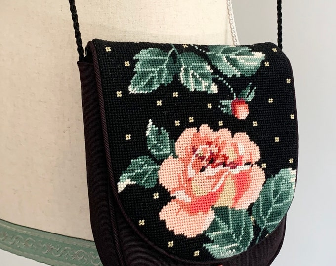 Adorable Needlepoint Rose Purse Handbag Handmade Vintage Monogrammed Romantic Boho Black Silk with Pink Flowers Tassel Detail