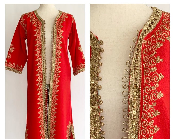 Boho Kashmiri Jacket Duster Kaftan Caftan House Coat Handmade Vintage Heavy Red Fabric Ornate Gold Embroidery India Indian Dress Long Ankle