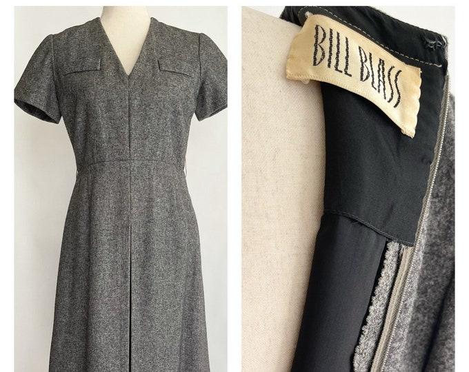 70s Bill Blass Dress American Designer Gray Grey Wool Short Sleeve Dress XS