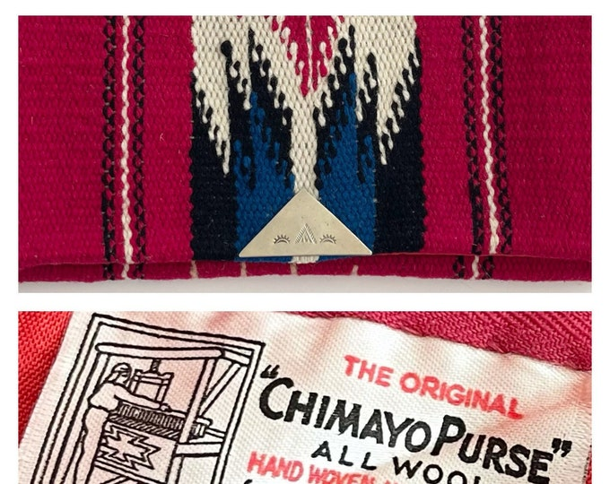 Antique Chimayo Purse Clutch Bag Vintage 30s 40s Ganscraft Handwoven Southwest Red White Black Clue Wool Textile Original Label