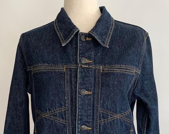 Marithe Francois Girbaud Jacket Dark Wash Indigo Denim Vintage 90s Designer Jean Trucker