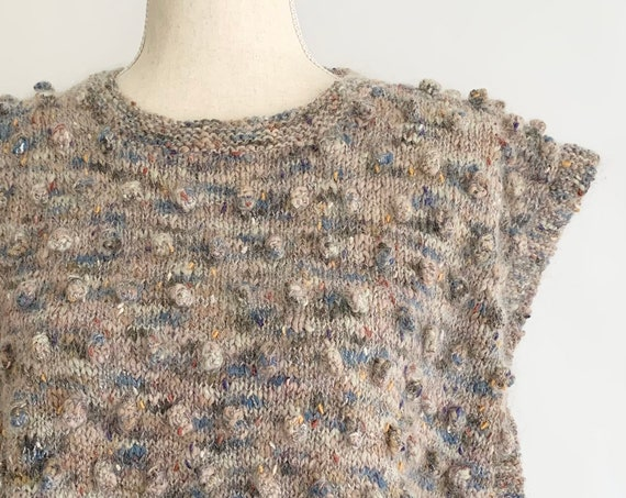 Super Soft Sleeveless Sweater Tunic Appears Hand Knit Soft Heathered Pastel Colors Crew Neck Popcorn Knit