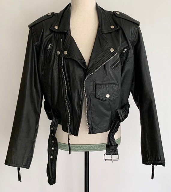 Women's Leather Biker Jacket Vintage 80's Wilson's Motorcycle Moto Style Coat Zip Front Pockets Size M