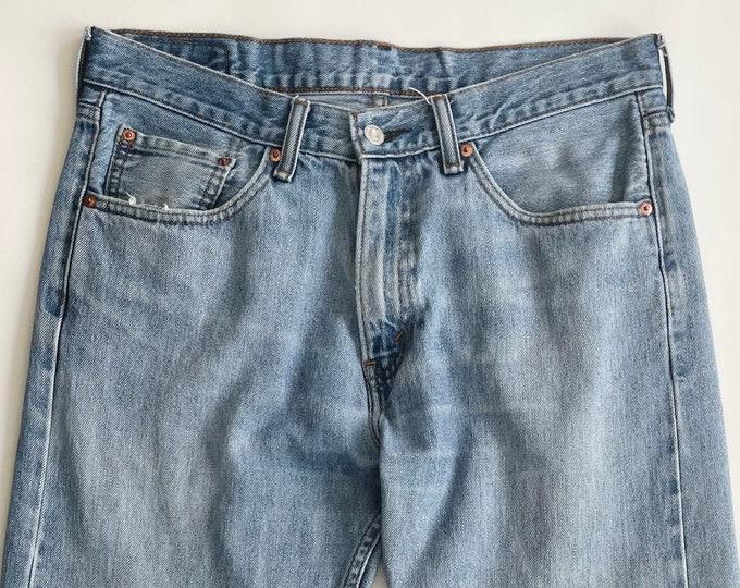 Vintage Levi's 505 Jeans Light Wash 90s 2000s All Cotton Denim Soft Distressed Worn Light Wash Men Straight Fit Jeans