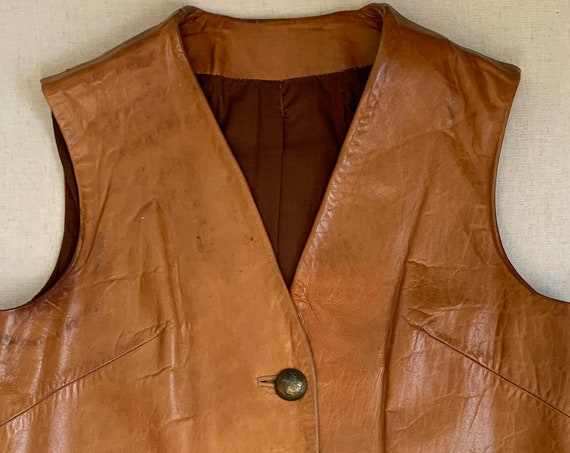 Western Tan Leather Vest Vintage Handmade Distressed Faded Patina Cognac Mexican Coin Buttons Women's S M
