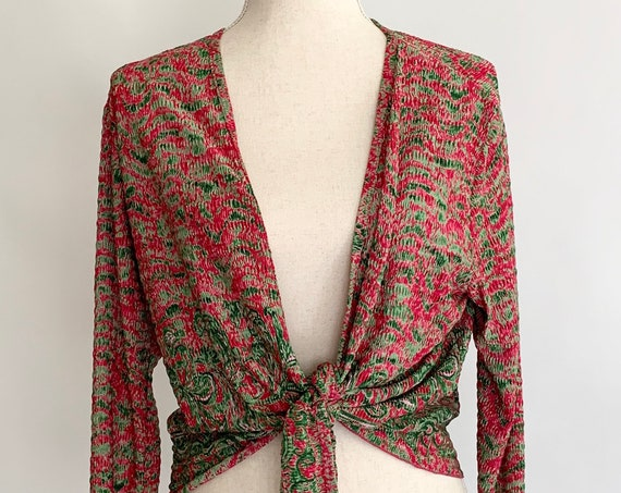 Cropped Tie Waist Cardigan Vintage Pleats Pleats by Rafael Magenta Pink Green Print Soft Polyester Women's S M