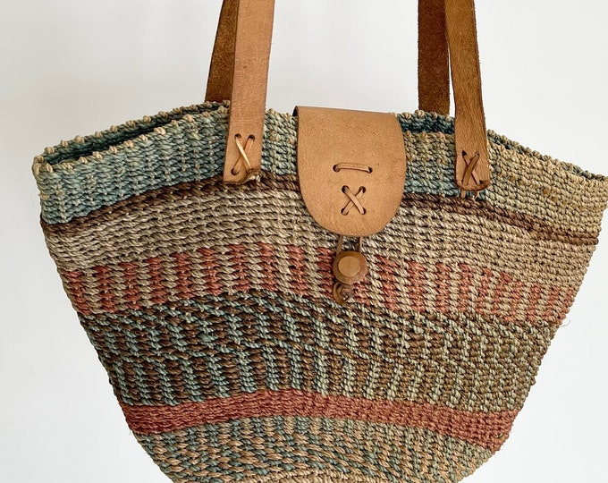 Vintage Sisal Straw Bag Purse Market Bag Leather Straps Beige Brown Blush Faded Stripes Beach Bag Tote Clean Interior
