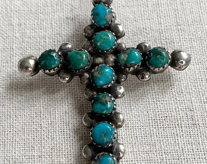 Large Turquoise Cross Pendant Sterling Silver Vintage Patina Native American Zuni Petit Point