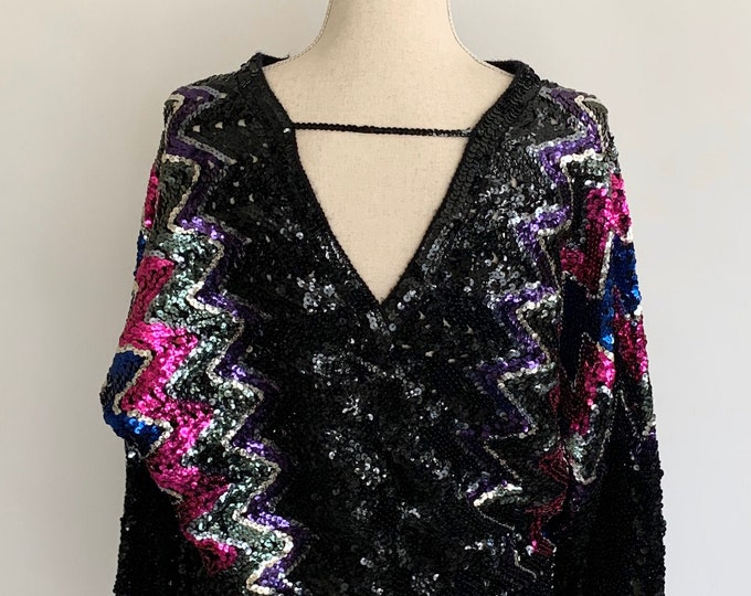 Open Back Sequin Sweater Top Vintage 80s Zig Zag Pattern Black Silver Magenta Purple Sequins Dolman Batwing Sleeve Party Cocktail Size S M