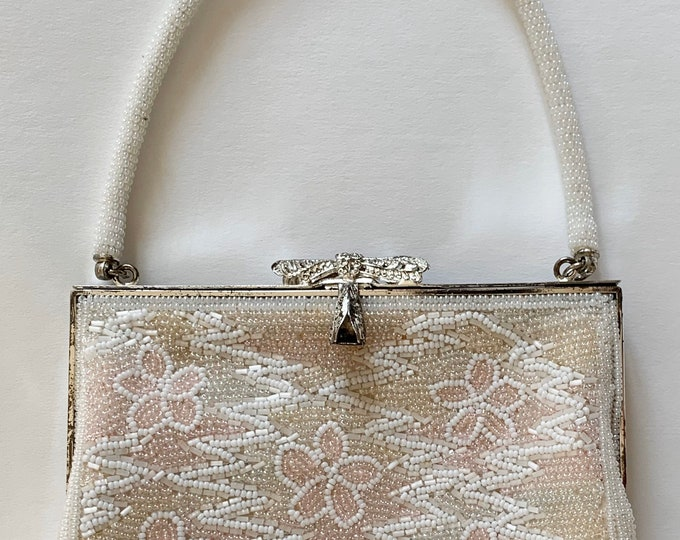 Pearl Beaded Wedding Purse Vintage 60's Baby Pink White Pearl Floral Beaded Design Silver Hardware Bridal