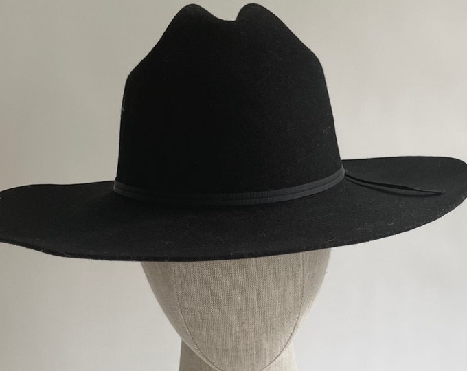 Black Wool Cowboy Hat for Small Women's Head Pure Wool Vintage Western Hats Rodeo Style