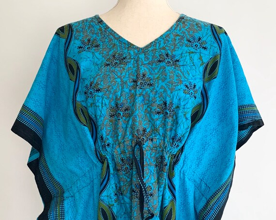 Indian Cotton Caftan Kaftan Maxi Dress Long Beach Cover Up Vintage Turquoise Blue Adjustable Waist Open Free One Size