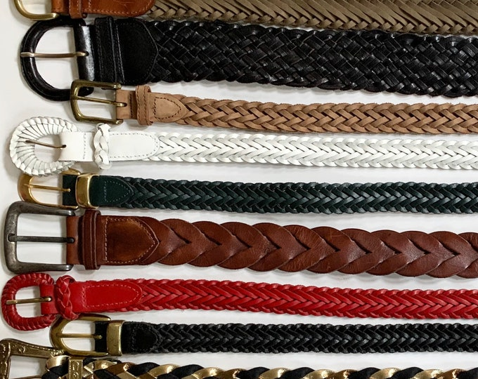 Braided Leather Belt Belts Vintage Leather Goods Woven Basketweave Woven Cotton Canvas Brown White Red Black Mens Women's Belts
