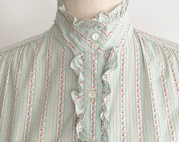 Ralph Lauren Floral Shirt High Neck Prairie Victorian Style Vintage 80s Pastel Rose Print Ruffle Trim XXS XS