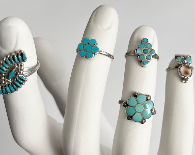 Native American Turquoise Ring Dainty Delicate Styles Vintage Dishta and Zuni Sterling Silver Womens Rings Flower Owl Floral