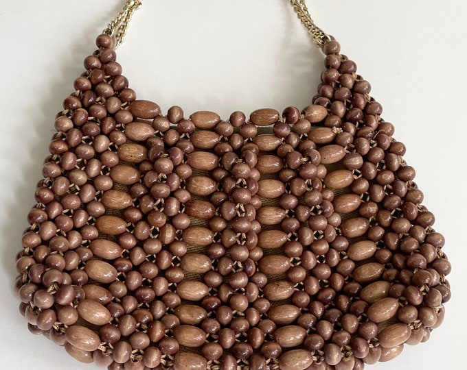 Boho Wood Bead Purse Bag Made in Japan Vintage 60s Gold Tone Chain Link Strap Ribbed Cotton Lining Folk Hippie Mid Century Mod