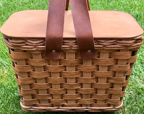 Big Wicker Picnic Basket Vintage Double Distressed Leather Straps Removable Wood Lid Outdoor Living
