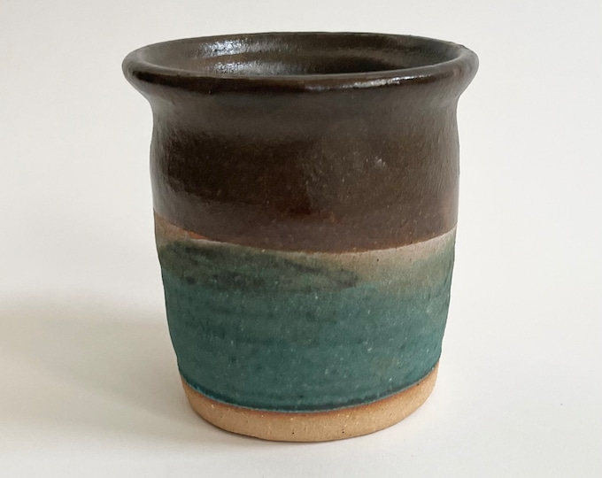 Brown Turquoise Pot Planter Vintage Handmade Studio Pottery Washed Turquoise Glaze Small Succulent Indoor Planter Size