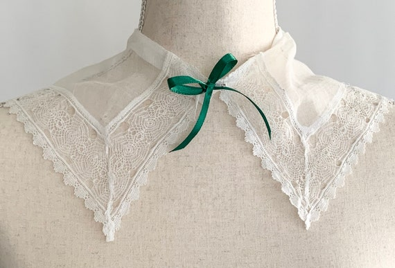 Antique Victorian Lace Collar Piece for Shirt Blouse Handmade Vintage White Cotton Costume Design Movie Set Sewing Notions