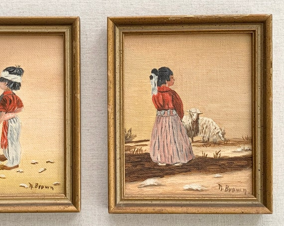Original Native American Oil Paintings Pair Set of 2 Coordinating Vintage Hand Painted Boy Girl Woman Sheep Artist Signed N. Brown Small