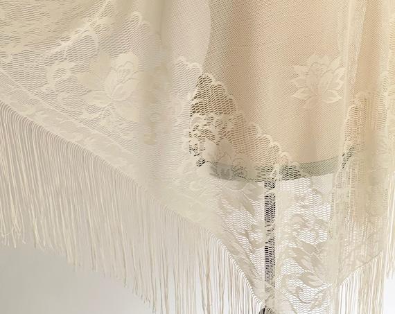 Dramatic Crochet Fringe Shawl Natural Ivory White Cream Wrap Vintage Hand Knit Peasant Hippie Boho Bohemian Festival Style