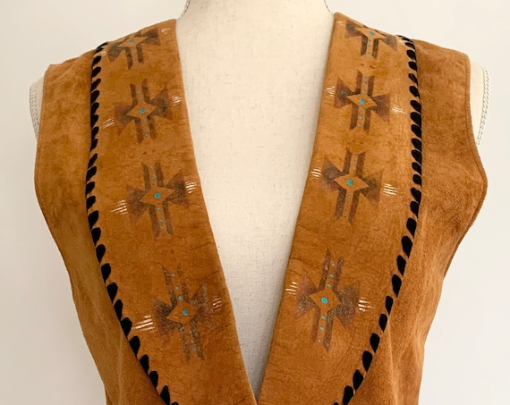 Patricia West Suede Vest Vintage Western Cognac Tan Brown Leather Vests Distressed Aged Patina Silver Button Womens XS S