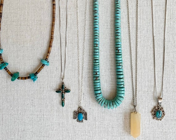Boho Stackable Handmade Necklace Vintage Artisan Native American Heishi Sterling Silver Turquoise Olive Shell Malachite Thunderbird