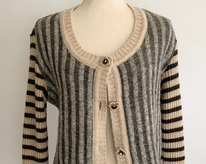 Moschino Wool Cardigan Sweater Vintage 90's Grunge Striped Gray Beige Virgin Wool Knit Made in Italy Heart Shaped Buttons Size XS S