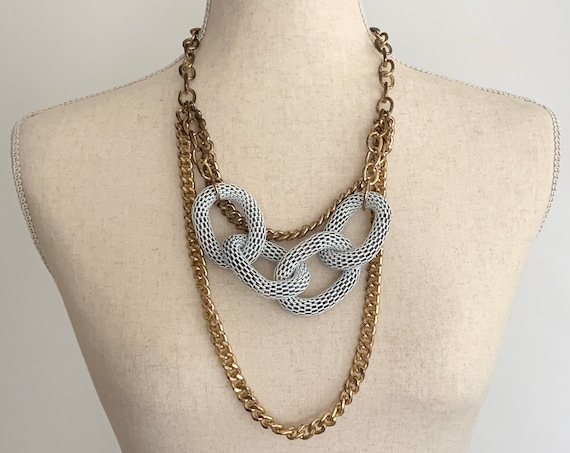 Oversized Gold Chain Necklace Vintage 70s 80s Gold Tone Finish White Mesh Link Links Multi Strand Statement Necklace Jewelry