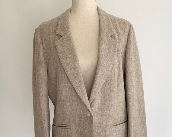 Oatmeal Beige Wool Jacket Blazer Coat Vintage Haberdashery Collection by Personal Slightly Oversized Fit Menswear Style Womens S
