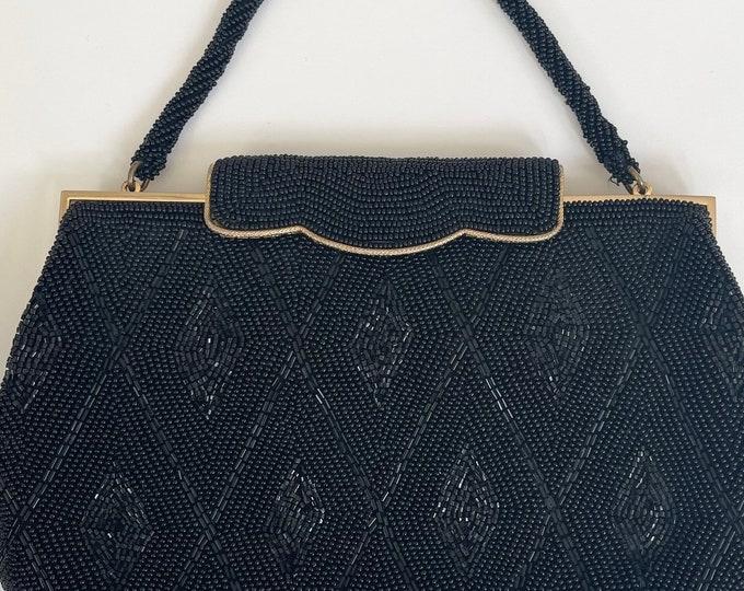 Japan Black Beaded Handbag Purse Evening Bag Made in Japan of Italian Glass Beads Gold Tone Frame Vintage 50s La Regale