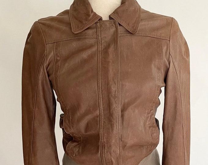 Bruno Magli Leather Jacket Vintage Italian Designer Soft Light Chocolate Brown Coat Moto Motorcycle Biker Jacket Style Womens XXS XS